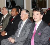 Photo by: GLENN TANNER- Pictured: Managing Director Matteo Fassio of Euro Tranciatura USA and local politicians listening to the presentation on the plant purchase.